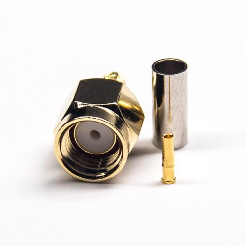 Rp male sma connector straight female pin crimp type gold plating for rg174