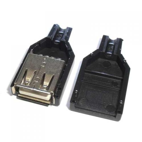 Usb a female connector with cover